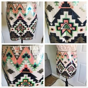 NWT Express Multicolor Sequin Geo Tribal Miniskirt